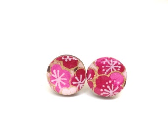 Cherry Blossom Stud Earrings, Pink and Garnet, Gold, Japanese Paper, Chiyogami, Washi, Lasercut wood, Resin, very lightweight, Gift under 10