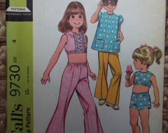 Fun in the sun little girls play set pattern McCalls 9730 uncut