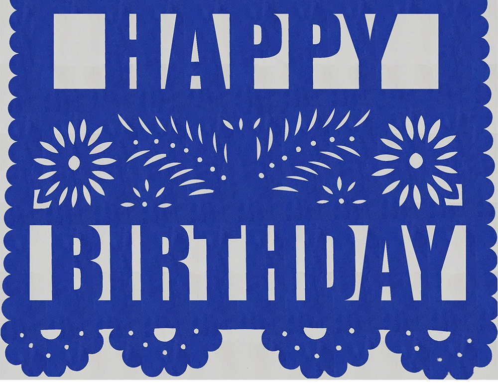 Fiesta Papel Picado Banner Includes Name Amp Happy Birthday Or