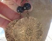 Medallion Earrings, Black Agate Earrings, Moroccan Jewelry, Statement Earrings, Vintage Inspired, Vintage Look, Antiqued Gold Earrings