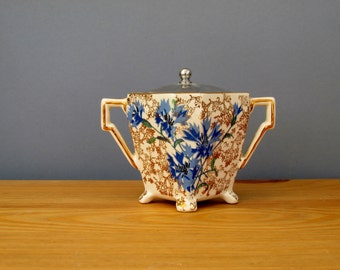 Art Deco Sugar Bowl Cornflower Blue Flower and Chintz by Lancaster England 1920s