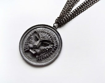 Lion Medallion Gunmetal Necklace Vintage Pendant Multi Strand Necklace One Of A Kind Statement Jewerly Unique Fashion Accessories