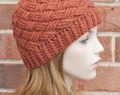 Crochet Beanie Hat - Rust Burnt Orange Beanie - Womens Basketweave Hat - Winter Accessories // THE BRISTOL //