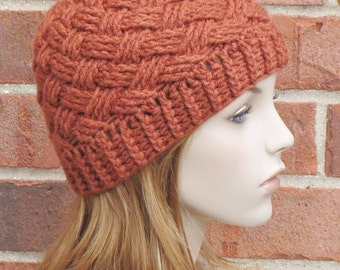 Crochet Beanie Hat - Rust Burnt Orange Beanie - Womens Basketweave Hat - Winter Accessories // THE BRISTOL //