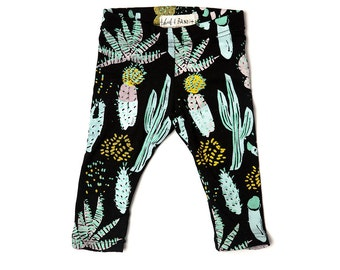 Cactus Leggings in Dusty Pink, Yellow Ochre, Blue Mint and Green on Black