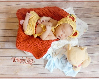 Newborn Pooh Inspired Bear Bonnet and Shorts - Photography Prop