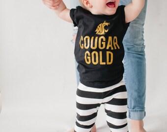 "WSU COUGARS ""Cougar Gold"" Black T-Shirt"