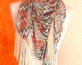 Fringe Scarf silk touch, chevron zigzag printing , triangle silky wrap