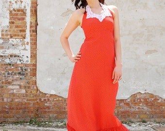 Vintage red boho dress, halter maxi empire waist, white dots lace long sundress XS S SALE