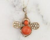 Antique Georgian Coral Diamond and Pearl Bee Pendant