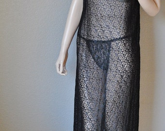 Vintage Black All Sheer Lace Long Negligee - by Gossard Artemis - Medium