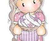 Digital Digi Stamp Chloe with Cupcake  - Girls Birthday Card, Party  Invitatations, Easter etc