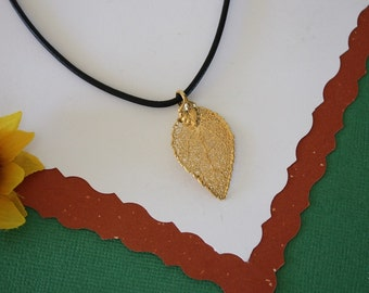SALE Leaf Necklace, Gold Evergreen Leaf, Real Evergreen Leaf Necklace, Gold Leaf Pendant,SALE115