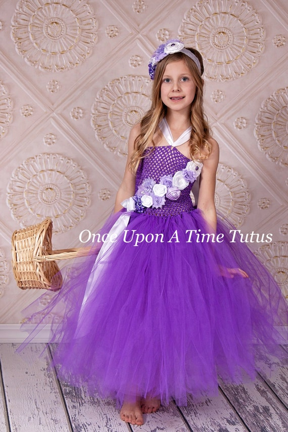 Purple lavender white flower girl tutu dress spring photo for 12 month dresses for wedding