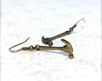 Miniature Hammer Earrings. Brass Hammers. Tool. Builder. Kitsch. Dangle Earrings. Vintage Style. Hooks. Under 10. Miniatures.