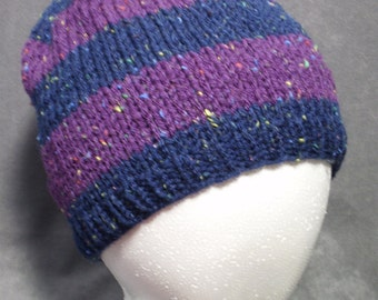 Mens Knit Hat: Striped Knit Hat in Purple and Blue
