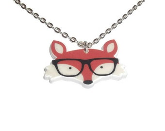 Fox Necklace, Cute Hipster Animal Glasses, Orange Perspex Kawaii Woodland Animal, Quirky