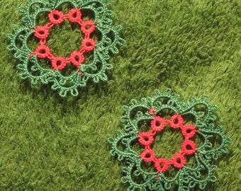 Handmade Tatted Christmas Wreath Set