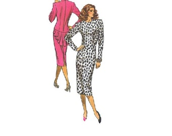 Retro New Wave 80s Dress Butterick 4030 Sewing Pattern Back Zipper Form Fitted Ruffle Tail Tapered Bodice Wide Shoulders Uncut Bust 36