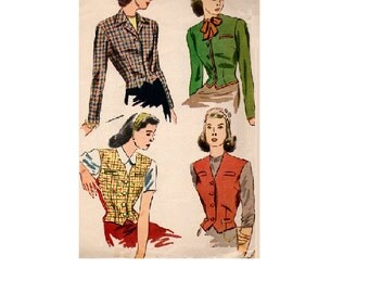 Simplicity 4749 Sewing Pattern 40s Vintage Fitted Vest Tapered Waist Peplum Jacket Notched Collar WWII Fashion Size 18 Bust 36