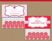 Editable Valentine's Day Bag Toppers - Pink Red Chevron Bag Labels with Hearts - Modern Printable Valentine Party Favors INSTANT Download PR
