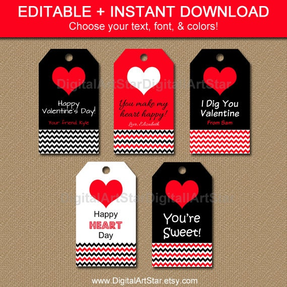 Printable Valentines Day Gift Tags - Chevron Tags - Editable Valentine ...