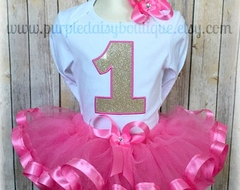 Hot Pink and Gold Birthday Ribbon Trim Tutu Outfit