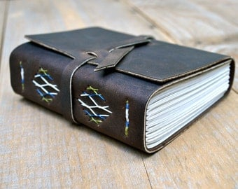 Medium Coffee Brown Leather Journal With Blue/Green French Link Stitch