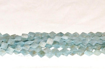 "Aquamarine 10mm Diamond Gemstone Beads - 15.75"" Strand"