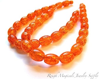 Orange Beads. 8mm x 6mm Barrel Beads. Halloween DIY. Tangerine Crackle Glass. Oblong Oval Beads. October Jewelry Making - 18 pieces SP464