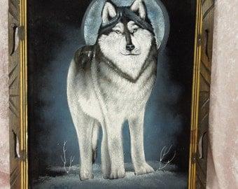 Vintage Black Velvet Painting Wolf Signed Ortiz Framed Mexico Large