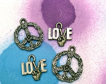 Collection of Peace Sign Love Set - 4 pieces-(Antique Pewter Silver Finish)