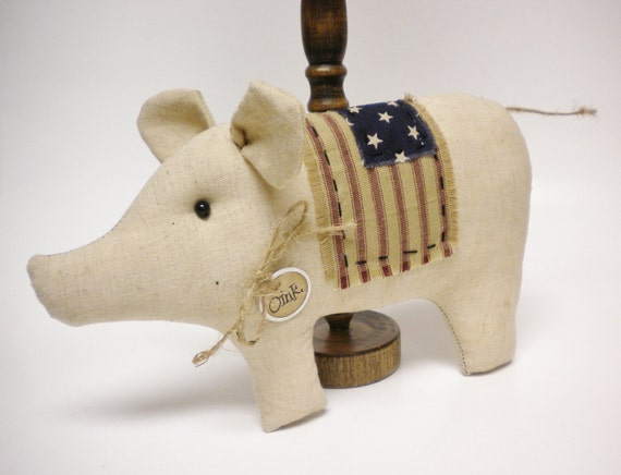 American Flag Pig Pillow Tuck, Patriotic Fabric Pigs, Americana Piggy Ornament, Primitve Country Pig Shelf Sitter