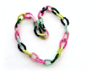 Crochet Necklace - Crochet Chain Necklace - Multicolored Necklace - Chunky Necklace - Sweater Necklace - Long Necklace