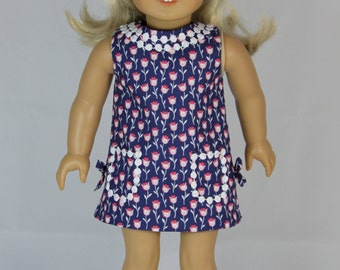 Floral Navy Shift Dress and Headband for American Girl Doll