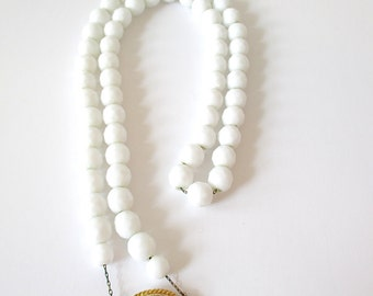 Vintage White Faceted Bead and Chain Necklace with Ornamental Clasp