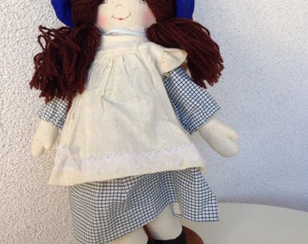 """SALE Vintage country girl rag doll by Kasma size 13"""""""