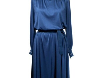 vintage 1970s bohemian dress / Shannon Rodgers for Jerry Silverman / sapphire blue / 70s belted dress / women's vintage dress / size large