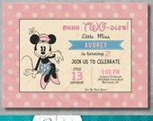 Vintage Minnie Mouse Birthday Invitation - Girl - Pink - Minnie Mouse Themed Party - 2nd Second Birthday - Customizable - Printable - DIY