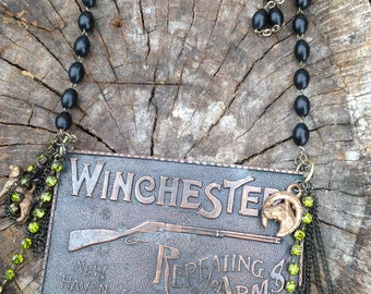Vintage necklace ,winchester, brass, upcycled