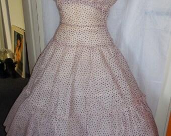 SALE Vintage 1950s Sheer Pink Dress Black Polkadots Full Skirt Party Dress Sundress Halter Rockabilly Pinup Mid Century M as is