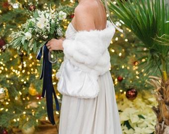 "White mink faux fur bridal wrap winter wedding fur bridesmaids fur shawl winter wedding fur bridal shawl ""Midwest styled shoot"""