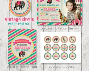 Vintage Girl Circus Party Package - Circus Birthday - Circus Party - Carnival Birthday - Circus Party Decor - Printable Circus Party