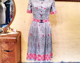 Vintage Day Dress Sheep Ram Enamel Buttons Japanese Style S
