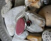 Reiki Attuned Garnet and Jade Silver Pendant Necklace