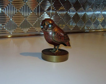 Vintage Brass Owl on Stand Made in India Painted Carved Brass Owl Retro Owl Made in India Brass