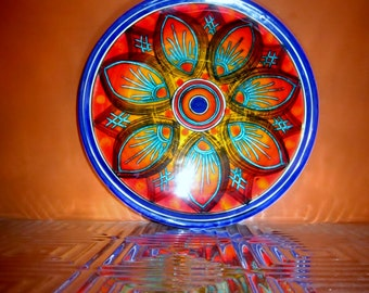 Vintage Wall Plate Ceramic Signed Sicilia Mid Century Retro Plate Decorate Multi Color Dish