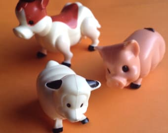 70's Playskool Lil Playmates Farm Animals, set of 3, sheep / cow / pig, original, collectible, vintage toys, retro toys, egst, Greece
