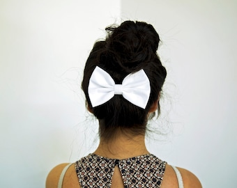 Jenny Hair Bow - White Hair Bow with Clip