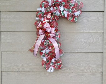 Christmas Wreath Candy Cane - Red White Green - Seuss